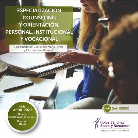 Especialización Counseling y Orientacion, Personal Institucional y Vocacional