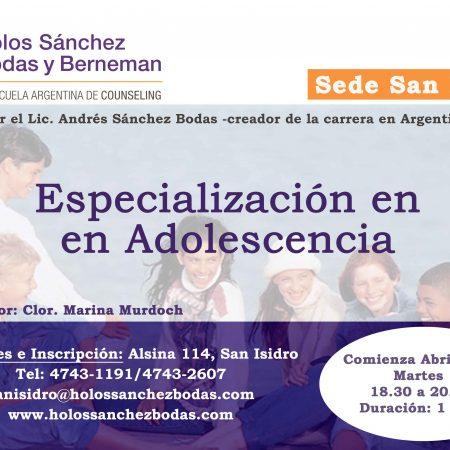 ESPECIALIZACIÓN EN ADOLESCENCIA