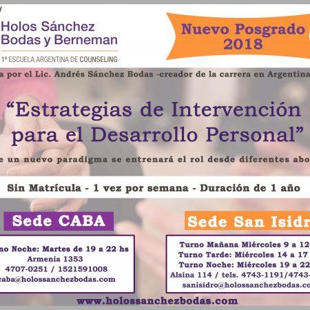 ESPECIALIZACIÓN EN INTERVENCIÓN PARA EL DESARROLLO PERSONAL