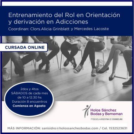 ENTRENAMIENTODEL ROL EN ORIENTACION Y DERIVACION EN ADICCIONES